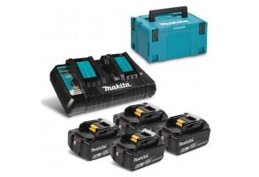 Батерия Li-Ion комплект за електроинструменти  със зарядно 18 V. 6 Ah. 4х BL1860B. DC18RD Makita BL1860 Set